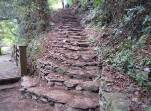 居民以傳統生態工法做步道。(圖/林務局提供)