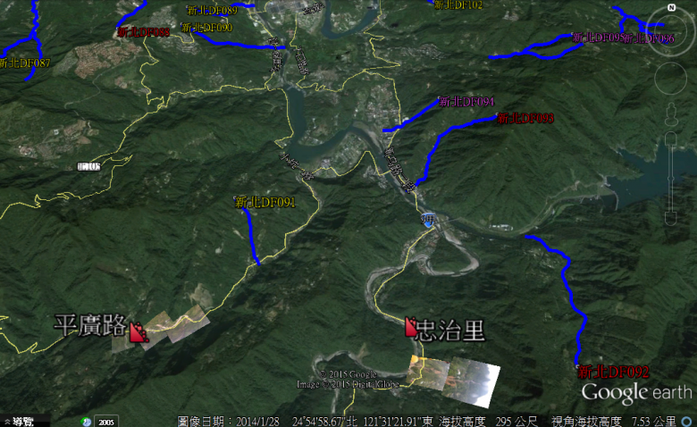 從google earth影像列出此次新店與烏來的災區分布情形。(圖/水保局提供)