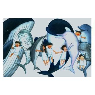 黑潮 手绘爱海豚明信片