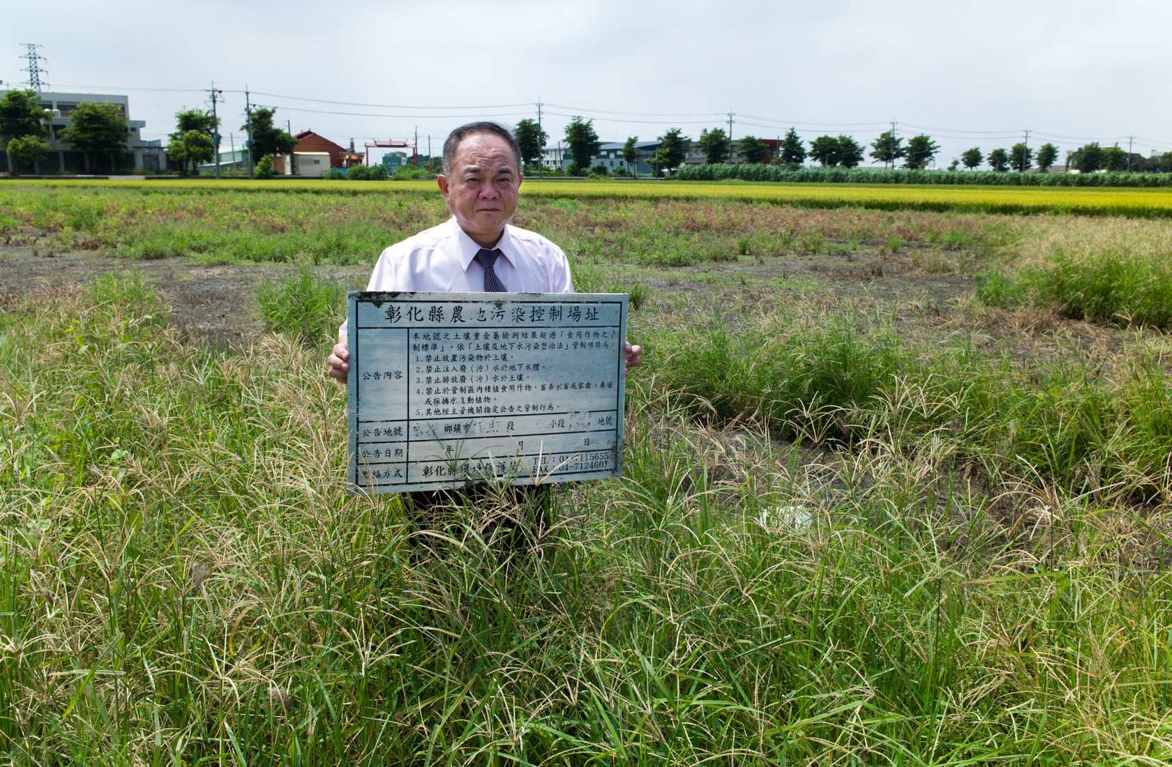 電鍍污水染指農地摧毀作物、土地和農民 攝影者張良一