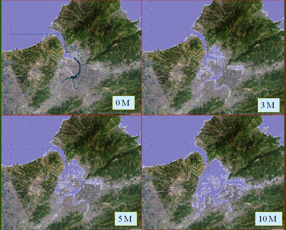 圖為台北盆地隨海平面上升後,在3公尺、5公尺、10公尺情境的地形景觀,可見到台北盆地大部份地區都會淹在水裡,無法居住。這樣的壓力在將來10至30年內就會感受到,因為一旦北冰洋夏季無冰的情景出現,海平面跳躍上升,台北盆地就會面臨史無前例的排水與淹水壓力。(圖 / 汪中和提供)