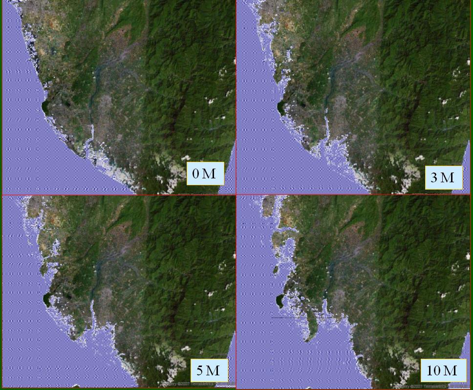 本圖為南部地區隨海平面逐漸上升後,在3公尺、5公尺、10公尺情境的地形景觀。未來海平面上升,台南、高雄、屏東沿海,將會在百年的時間尺度內有大幅度改變,海岸線將會開始內縮,尤其長方形的屏東平原,由於地形低平,將是台灣西南部因海平面上升受創最嚴重的地區。(圖 / 汪中和提供)