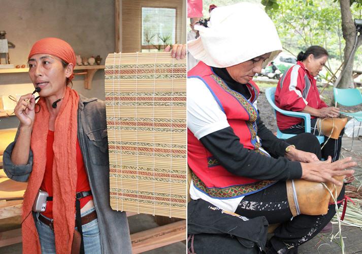 升火工作室執行長舒米‧如妮是石梯坪水梯田復耕的推手,除了種植海稻米,也復育傳統植物輪繖草,由部落婦女編織為特色工藝品。