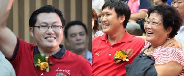 得獎名單公布吳俊賢(左)與陳毅鴻(中)雙雙入圍全國十大經典好米,陳林金蕊(右)與兒子、女婿均興奮不已。