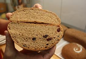 上面的麵包尚未經過復筋排酸,不但膨不起來,味道也較酸。下圖加了蔓越莓果乾的麵包經過排酸,明顯蓬鬆許多
