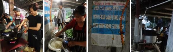 ▲圖4:兩岸三地土食材烹飪分享。圖左,大火是沼氣爐、小火是一般瓦斯爐;圖左二,是沼氣發電的煮飯鍋,橘色管線即是沼氣輸送管線;圖右二,牆上貼著沼氣發電的示意圖;圖右,柴火爐,特色是金屬容器是雙層的,可容納清水,故燒柴炒菜的同時,可燒滾鐵鍋中的水。(田菁攝)