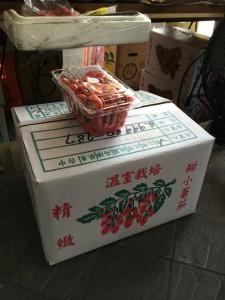 古亭市場攤商疑似將下方散裝箱的小番茄分裝小盒後,再張貼偽造的吉園圃標章販售。