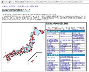 日本環境省會公布的野鳥遷徙資訊