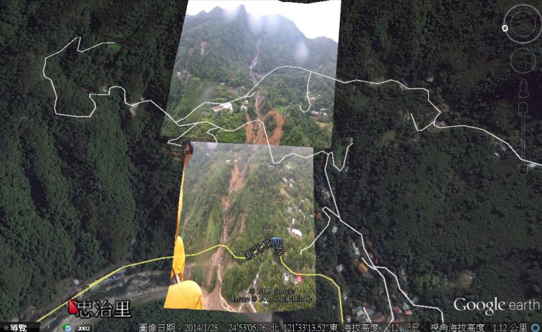 烏來忠治里的崩塌分析,與道路建設不無關係。(圖/水保局提供)