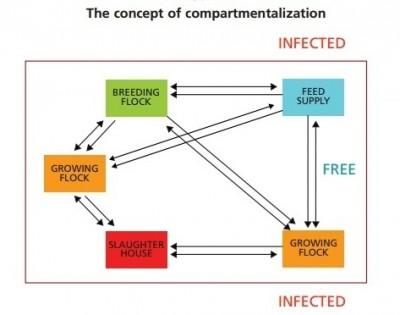 巴西推動推動獨立生物安全管理體系(compartmentalization)示意圖。
