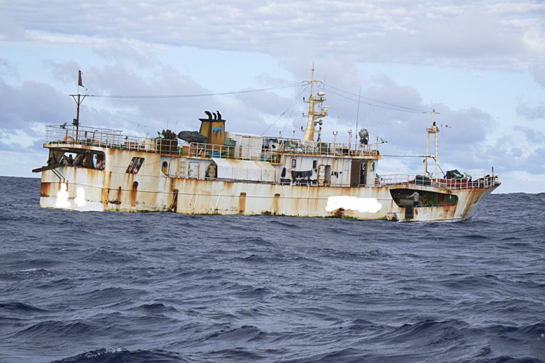 Longline fishing vessel Hai Xing 718 in the South Pacific tuna fishery. The Rainbow Warrior travels into the Pacific to expose out of control tuna fisheries. Tuna fishing has been linked to shark finning, overfishing and human rights abuses.