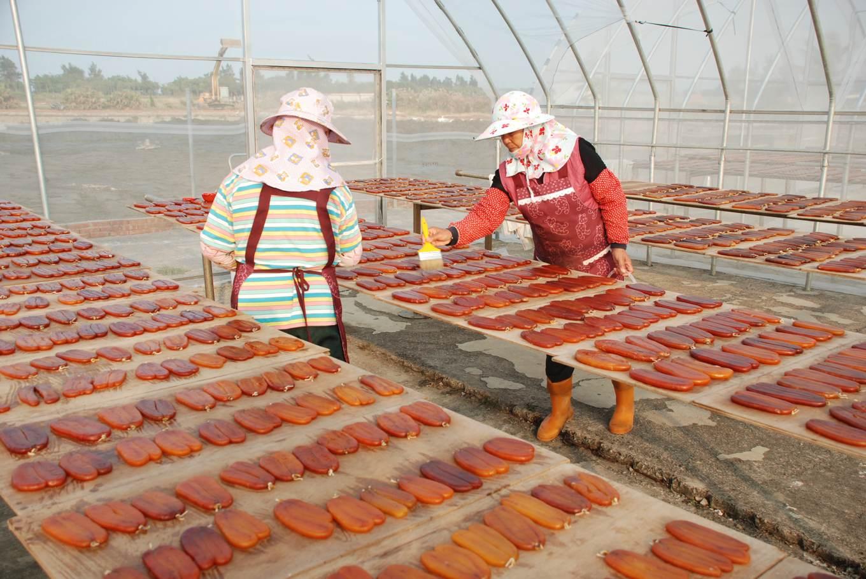 日曬烏魚子工序繁多,需隨時留意濕度與顏色,掌握最佳口感與賣相2