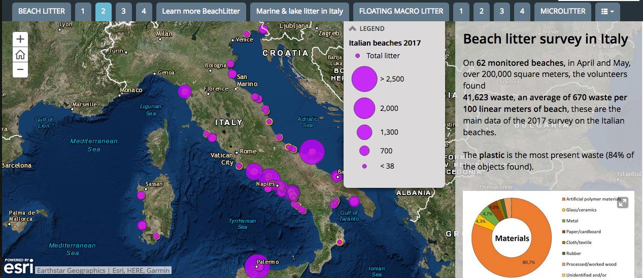 義大利的海灘塑膠分布密度