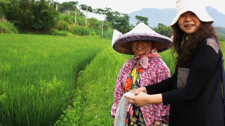 國內對於農田生物多樣性的研究相當缺乏,范美玲(右一)的研究可說是國內的先驅性研究
