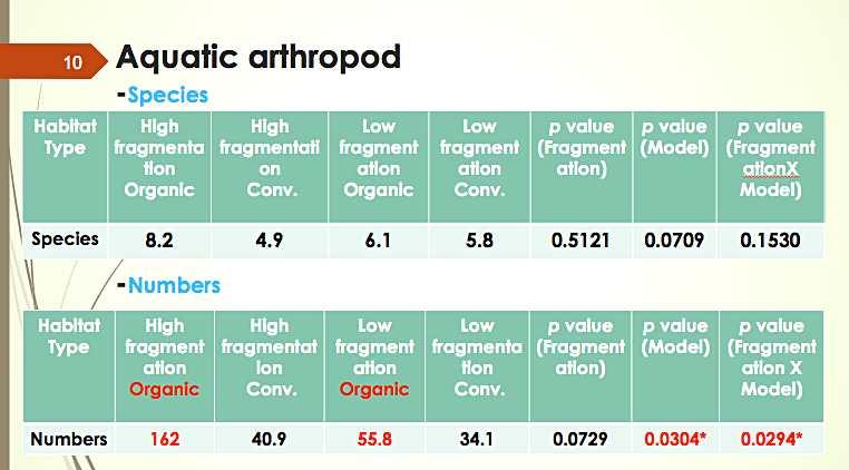 不同田區觀測到的陸生節肢動物數量、種類情況(截自花改場簡報)