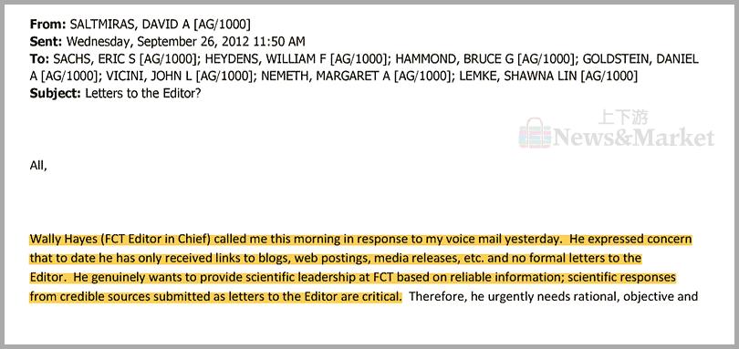 海耶斯向薩爾米拉斯抱怨缺少批評賽哈里尼研究的「科學回應」
