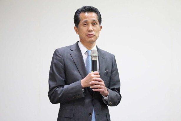 應邀來台演講的笠間市長山口伸樹(攝影/劉怡馨)