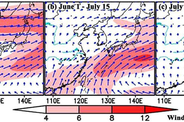 胡高以過去五年的氣象數據(2014-2018),模擬預測秋行軍蟲在台灣及日韓固定遷飛路線。(取自胡高論文)