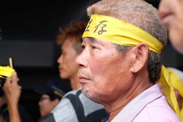 抗議漁電共生剝奪生存權的漁民(攝影/蔡佳珊)