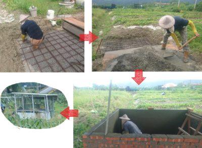 因應宜蘭氣候乾旱化:DIY蓄水池。拿出祥爸的拿手本領,整地、砌磚、組合雨水蒐集機制,只是小菜一碟。
