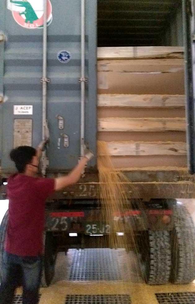 載送玉米的貨櫃車,門縫仍有洩漏可能