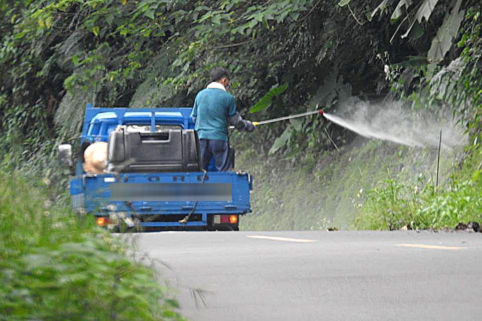 民眾直擊鄉公所雇人在橫山鄉大山背地區道路大肆噴灑除草劑(許天麟提供)
