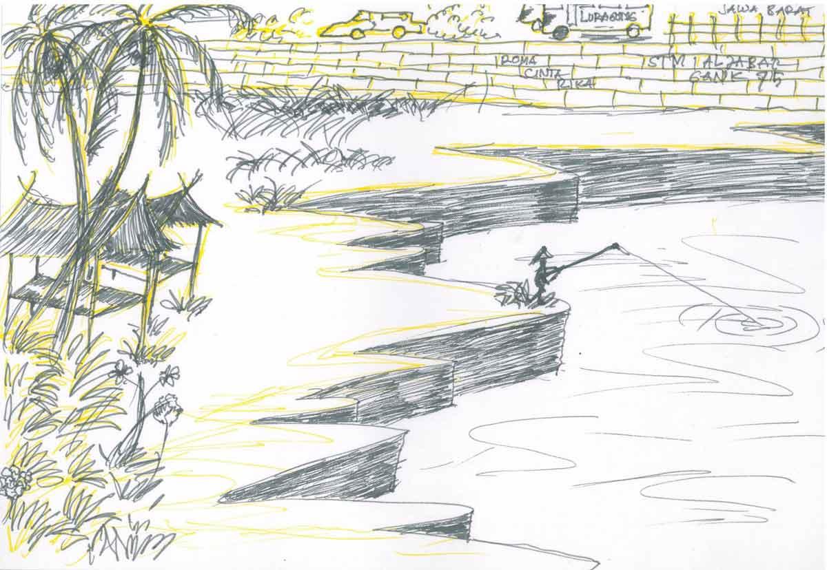 移工所繪的爪哇漁船等故鄉意象