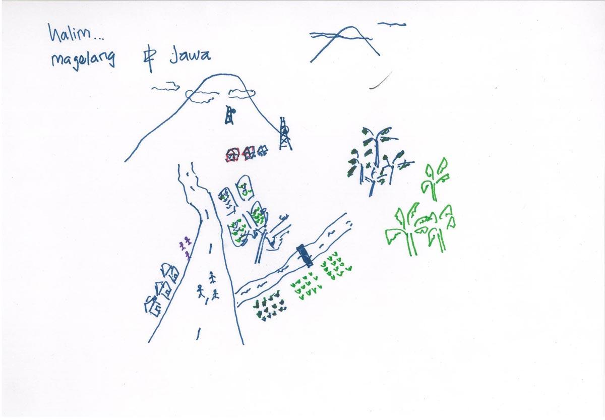 常去淨灘、檢時天燈廢棄物的移工Halim所繪的故鄉意象