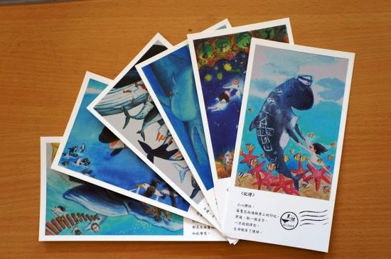 手繪海豚明信片