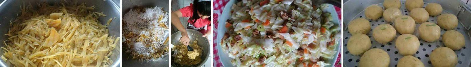 樹薯包製作過程(由左至右)