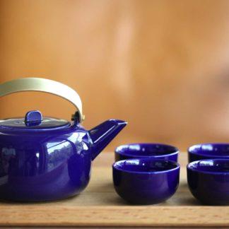 方圓鈷藍色茶具組