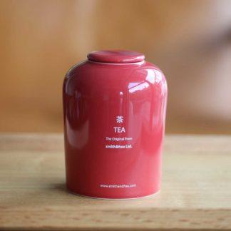 鮮彩陶瓷茶罐磚紅色