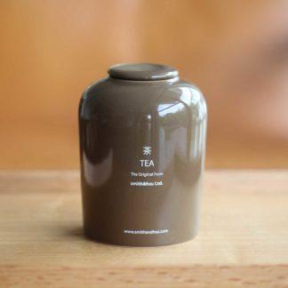 鮮彩陶瓷茶罐咖啡色