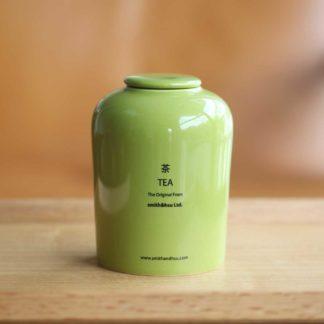鮮彩陶瓷茶罐草綠色