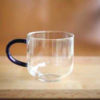 彩柄玻璃馬克杯深藍色